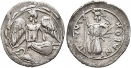 SICILY. Kamarina. Circa 461-440/35 BC. Litra (Silver, 13 mm, 0.58 g, 12 h). Nike flying left; below, swan standing left; all within wreath. Rev. KAMAP...
