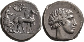 SICILY. Katane. Circa 450-405 BC. Tetradrachm (Silver, 24 mm, 16.56 g, 4 h). Charioteer driving quadriga walking to right, holding the reins in both h...