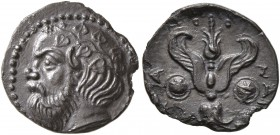 SICILY. Katane. Circa 415/3-404 BC. Litra (Silver, 11 mm, 0.66 g, 4 h). Head of Silenos to left, wearing ivy wreath. Rev. [K]ATAN-AI[ΩN] Winged thunde...