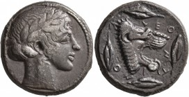 SICILY. Leontini. Circa 450-440 BC. Tetradrachm (Silver, 24 mm, 16.70 g, 1 h). Laureate head of Apollo to right. Rev. ΛEO-NT-INO-N Head of a lion with...