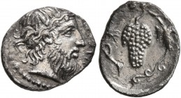 SICILY. Naxos. Circa 430-420 BC. Litra (Silver, 7 mm, 0.84 g, 11 h). Head of bearded Dionysos to right, wearing ivy wreath. Rev. Bunch of grapes on vi...