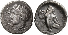 SICILY. Naxos. Circa 420-403 BC. Hemidrachm (Silver, 14 mm, 1.95 g, 12 h), signed by Prokles. NAXIΩN Head of the youthful river-god Assinos to left, w...