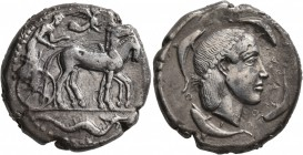 SICILY. Syracuse. Second Democracy , 466-405 BC. Tetradrachm (Silver, 25 mm, 16.55 g, 11 h), circa 460-440. Charioteer driving quadriga walking to rig...