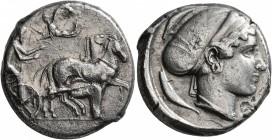 SICILY. Syracuse. Second Democracy , 466-405 BC. Tetradrachm (Silver, 24 mm, 16.54 g, 11 h), circa 430. Charioteer driving quadriga walking to right, ...