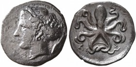 SICILY. Syracuse. Second Democracy , 466-405 BC. Litra (Silver, 12 mm, 0.81 g, 3 h), obverse die signed by Eu..., circa 415-405. [ΣYP]A Head of Arethu...