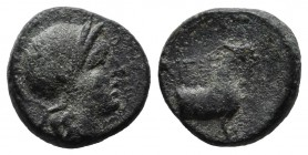 Aeolis, Aigai. 2nd-1st centuries BC. Æ (11mm, 1.61g). Helmeted head of Athena right. / AIΓAE. Forepart of a goat right. SNG München 363; SNG Copenhage...