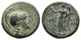 Aeolis, Aigai. 2nd-1st centuries BC. Æ (15mm, 3.62g). Helmeted head of Athena right. / AIΓAEΩN. Nike advancing left, holding wreath and palm; monogram...