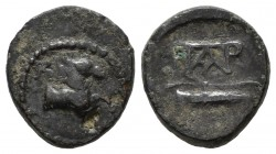 Aeolis, Kyme. 1st century BC. Æ (13mm, 2.20g). KY. Forepart of horse right / Bow and quiver; monogram to left. SNG Copenhagen 110-1.