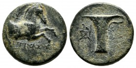 Aeolis, Kyme. ca 350-250 BC. Magistrate Zopirion. Æ (16mm, 4.08g). KY - ZΩΠYΡIΩN above and beneath forepart of horse right. / One-handled cup, NΠA mon...
