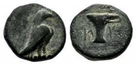 Aeolis, Kyme. ca.4th-3rd centuries BC. Æ (9mm, 1.23g). Eagle standing right. / Skyphos. BMC 16; SNG Cop. 41; SNG v. Aulock 1625.