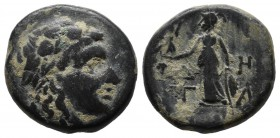 Aeolis, Temnos. 2nd-1st centuries BC. Æ (16mm, 4.59g). Wreathed head of Dionysos right / Δ - H / T - A. Athena standing left with Nike and spear; shie...