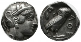 Attica, Athens. ca.454-404 BC. AR Tetradrachm (23mm, 17.02g). Head of Athena right, wearing earring, necklace, and crested Attic helmet decorated with...