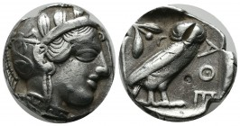 Attica, Athens. ca.454-404 BC. AR Tetradrachm (25mm, 16.81g). Helmeted head of Athena right, with frontal eye / Owl standing right, head facing; olive...