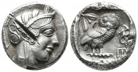 Attica, Athens. ca.454-404 BC. AR Tetradrachm (25mm, 17.58g). Helmeted head of Athena right, with frontal eye / Owl standing right, head facing; olive...