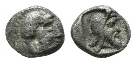 Dynasts of Lycia. Kherei. ca.440-410 BC. AR Tetartemorion (5mm, 0.25g). Helmeted head of Athena right / Bearded head of Kherei right, wearing Persian ...