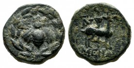 Ionia, Ephesos. 48-27 BC. Menan, magistrate. Æ (13mm, 3.19g). E-Φ to left and right of bee, all within wreath. / Stag standing right, long torch in ba...