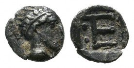 Ionia, Kolophon. ca.450-410 BC. AR Tetartemorion (6mm, 0.25g). Laureate head of Apollo right. / TE monogram; two pellets to left; all within incuse sq...
