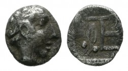 Ionia, Kolophon. ca.500-450 BC. AR Tetartemorion (6mm, 0.31g). Laureate head of Apollo right. / TE monogram; olive spray to left; all within incuse sq...