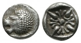Ionia, Miletos. Late 6th-early 5th century BC. AR Obol – Hemihekte (9mm, 1.23g). Forepart of lion right, head reverted. / Stellate pattern within incu...