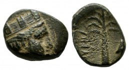 Ionia, Smyrna (or Tyre?). ca.3rd century BC. Æ (12mm, 1.43g). Turreted head of Tyche right. / Palm tree, Δ to right.