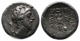 Kings of Cappadocia. Ariobarzanes III Eusebes Philoromaios, 52-42 BC. AR Drachm (17mm, 3.67g). Dated RY 11 (42 BC). Diademed head right. / Athena Nike...