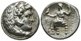 Kings of Macedon. Alexander III 'the Great'. 336-323 BC. AR Tetradrachm (25mm, 17.18g). 'Babylon' mint. Head of Herakles right, wearing lion skin. / A...