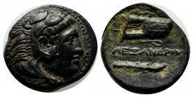 Kings of Macedon. Alexander III 'the Great', 336-323 BC. Æ (19mm, 6.18g) . Miletos. Head of Herakles right, wearing lion skin / AΛΕΞΑΝΔΡΟΥ. Legend bet...