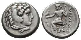 Kings of Macedon. Alexander III 'the Great', 336-323 BC. AR Drachm (16mm, 4.15g). Head of Herakles right, wearing lion skin. / AΛEΞANΔPOY. Zeus seated...