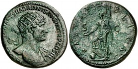 (119 d.C.). Adriano. Dupondio. (Spink 3668) (Co. 1358) (RIC. 604a). 13,42 g. EBC-.