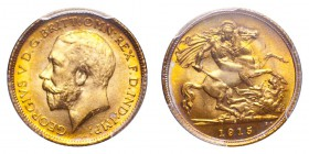 AUSTRALIA. George V, 1910-36. Gold Half-Sovereign 1915-S, Sydney. 3.99 g. S-4009. Lively golden toning; very attractive and scarce in this grade. In U...