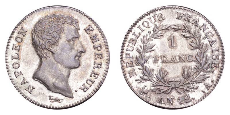 FRANCE. Napoleon I, 1804-14, 1815. Franc An 12-A (1803/04), Paris. 4.29 g. Minta...