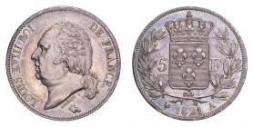 FRANCE. Louis XVIII, 1814-24. 5 Francs 1821-A, Paris. 25 g. Mintage 9,526,495. Gad-614; F-309. Intermittent red and blue toning morphing together to c...
