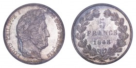 FRANCE. Louis Philippe, 1830-48. 5 Francs 1848-A, Paris. Gad-678; KM-749.1. Magnificent piece with brilliance and soft hues of grey-blue and rust-gold...