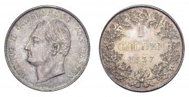 GERMANY: HESSE-DARMSTADT. Ludwig II, 1830-48. Gulden 1837, Darmstadt. 10.61 g. KM-308, J-38, AKS-104. Rare in this high quality. Fantastic brilliance ...