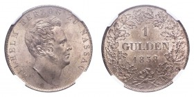 GERMANY: NASSAU. Wilhelm, 1819-39. Gulden 1838, Wiesbaden. 10.61 g. Mintage 189,749. J-44. Scarce offering from the small princely state of Nassau. No...