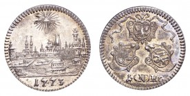 GERMANY: NURNBERG. Free city. Kreutzer 1773, 0.84 g. KM-367; Kellner 383. City view. A choice piece with toning, scarce in this quality.