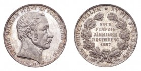 GERMANY: SCHAUMBURG-LIPPE. George Wilhelm, 1807-60. 2 Taler / Doppeltaler 1857-B, Hannover. 37.04 g. Mintage 2,000. J-7. Struck to commemorate 50 year...