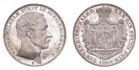 GERMANY: SCHAUMBURG-LIPPE. George Wilhelm, 1807-60. Taler 1860-B, Hannover. 18.52 g. Mintage 8,356. J-15. Proof and completely free of any marks or sc...