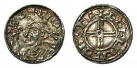 GREAT BRITAIN. Cnut, 1016-1035. Penny , Short cross type, Shaftesbury mint, moneyer AEGELRIC, +CNVT REX, rev. +ÆGELRIC ON SCE, 0.97g, S.1159, N.790. L...