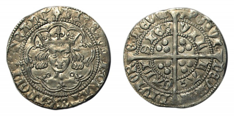 GREAT BRITAIN. Henry VI, 1422-1461. Groat , Calais, annulet issue, mm. pierced c...