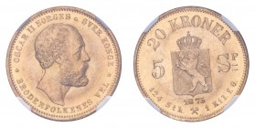 NORWAY. Oscar II, 1872-1905. Gold 20 Kroner 1875, Kongsberg. 8.96 g. Mintage 105,000. KM-348. First type with dual denomination. In US plastic holder,...