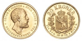 NORWAY. Oscar II, 1872-1905. Gold 20 Kroner 1878, Kongsberg. 8.96 g. KM-355. Scratches on obverse. Much retained lustre. EF.