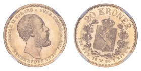 NORWAY. Oscar II, 1872-1905. Gold 20 Kroner 1886, Kongsberg. Finest graded. 8.96 g. KM-355. Finest graded with both NGC and PCGS. An absolute stunner!...