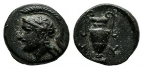 Aeolis, Myrina. 4th century BC. AE (10mm, 1.08g). Helmeted head of Athena left / Amphora between M-Y. SNG München 568; SNG Copenhagen 218-219.