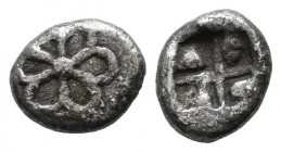 Asia Minor, Uncertain mint. Late 6th-early 5th centuries BC. AR Obol (8mm, 0.50g). Rosette / Incuse square with windmill pattern. Unpublished in the s...