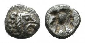Asia Minor. Uncertain mint, circa 500 BC. AR Tetartemorion (4mm, 0.17g). Lion's head right / Irregular incuse punch. CNG e-Auction 324, 159; Demeester...