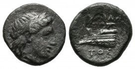 Bithynia, Kios. ca.345-315 BC. AR Hemidrachm (14mm, 2.12g). Laureate head of Apollo right. / Prow of galley left, ornamented with star. SNG Cop 370-37...