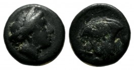 Caria. Rhodes. Circa 338-304 BC. AE (10mm, 1.48g). Head of nymph Rhodos right / P - O / Σ. Rose with bud right. BMC 108 ff. var. (letter).