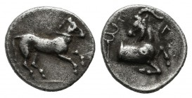 Cilicia, Kelenderis. 3rd century BC. AR Obol (10mm, 0.61g). Horse prancing right / Goat kneeling right, head left; caduceus. SNG Lev 23.