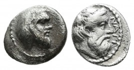 Cilicia, Nagidos. Circa 400-380 BC. AR Obol (10mm, 0.70g). Bearded head of Pan to right / NAΓI Bearded head of Dionysos to right. SNG Levante 4-5. SNG...